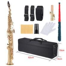 Ammoon latão em linha reta soprano sax saxofone bb b plana woodwind instrumento escudo natural chave carve padrão com estojo de transporte