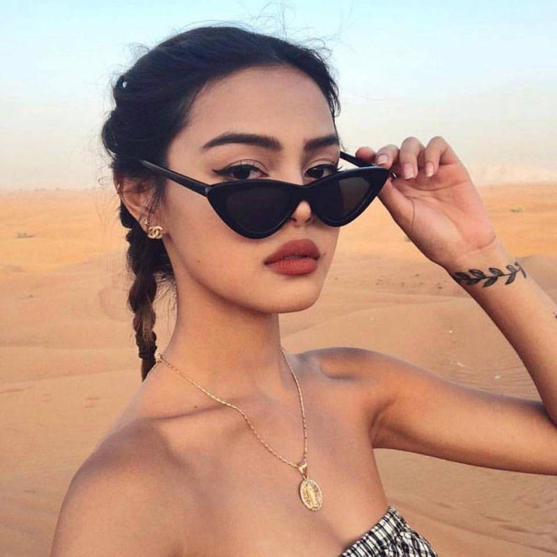 Vintage Fashion Eye Sunglasses Retro Cat Sunglasses Eyewear  Women Triangular Sun Glasses Oculos De Sol UV400