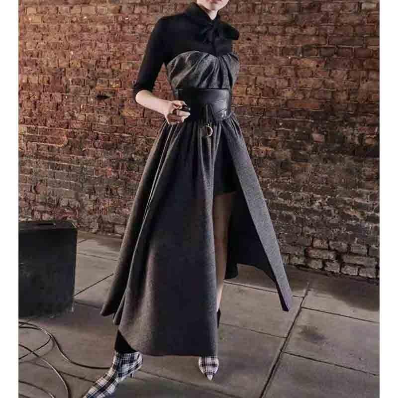 Cosmicchic femmes faux deux pièces longue robe nœud écharpe col taille haute Vintage Maxi robes de soirée automne hiver 2019 robe chaude