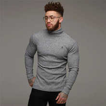 лучшая цена 2019 New Autumn Knitted t-shirt Long Sleeve Fitness Men T-shirt Gyms High collar t-shirt Male embroidered Long sleeve Casual Tee