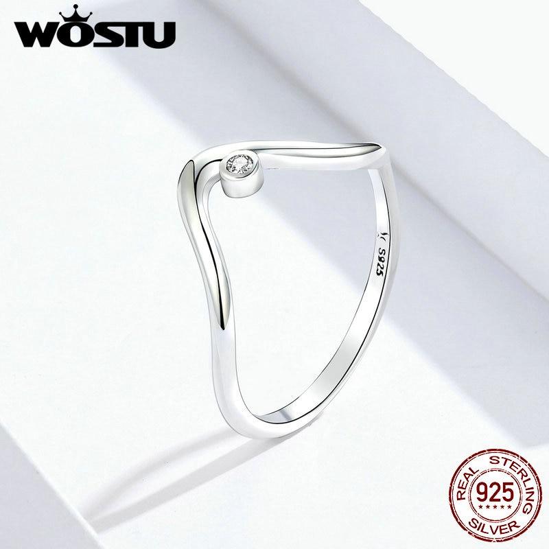 WOSTU Minimalist Waves Rings 925 Sterling Silver Brilliant Zircon Love Ring Finger For Women Wedding Elegance Jewelry FIR650