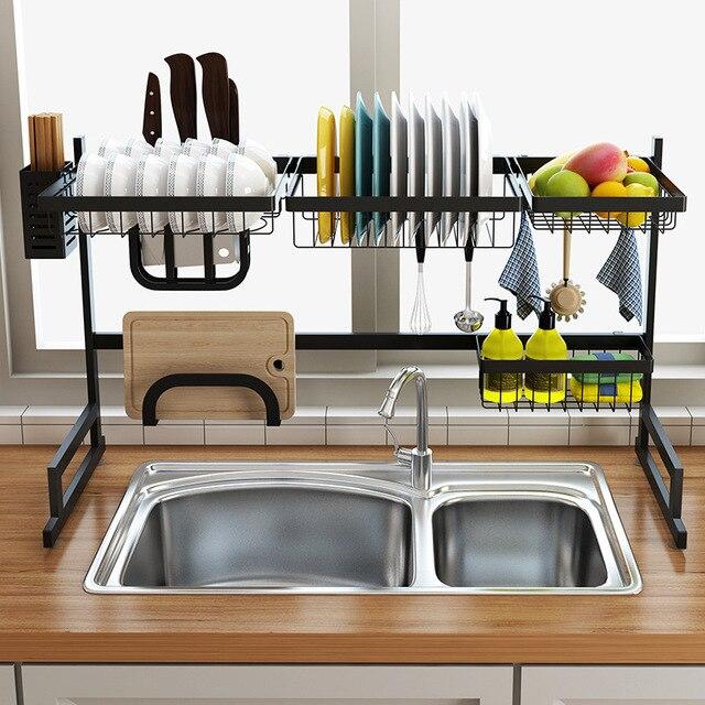 black 65 85cm stainless steel kitchen dish rack u shape sink drain rack two layers kitchen shelf kitchen supplies storage holder
