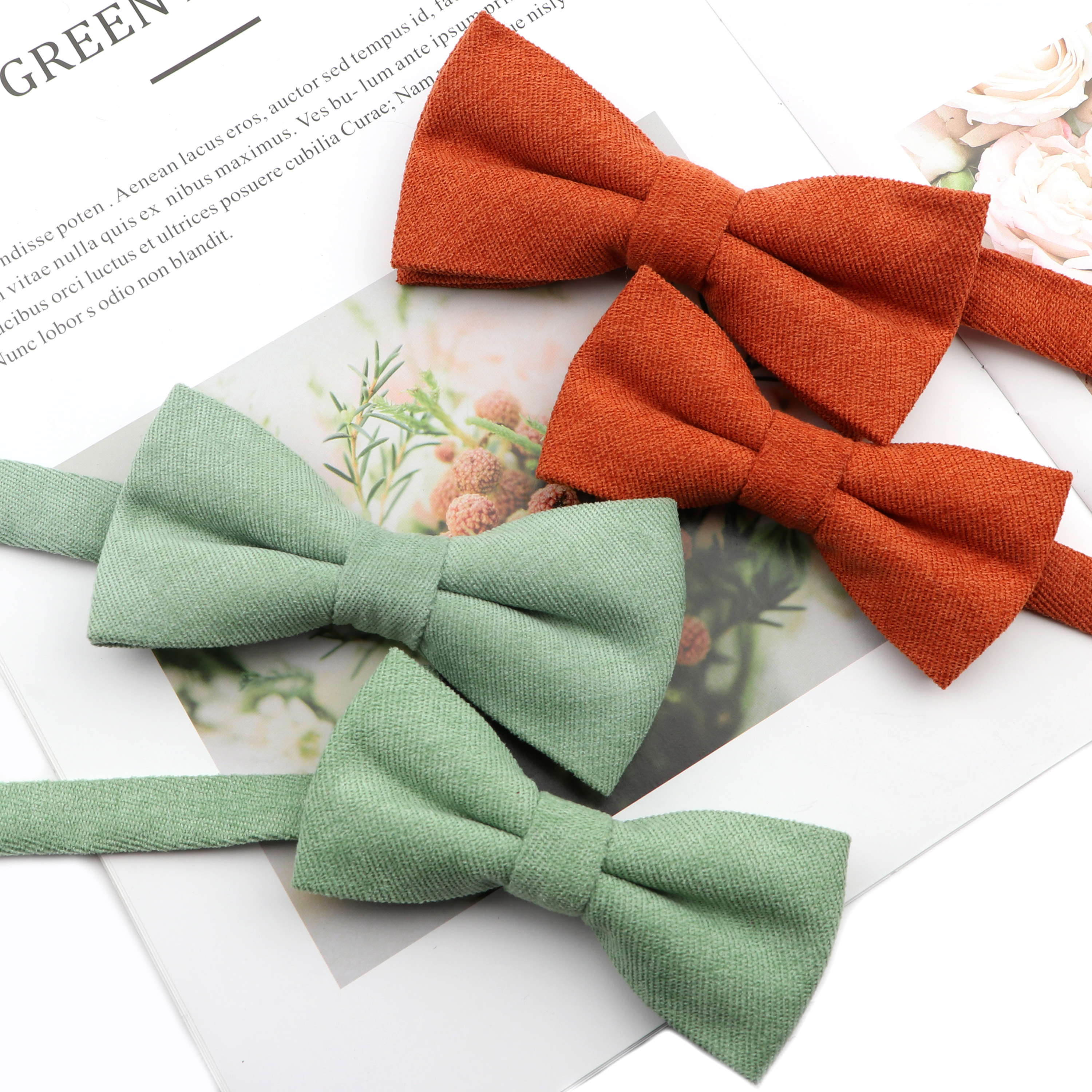 Mens Super Soft Downy Suede Parent-Child Bowtie Set Macarons Solid Color Classic Design Cute Butterfly Red Green Blue Pink Tie