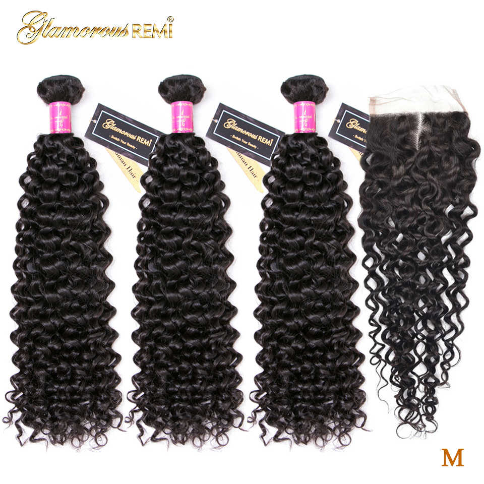 Peruvian Jerry Curly Bundles With Closure 100% Human Hair Natural Color 3 Bundles With Closure Extensions Remy Hair Middle Ratio
