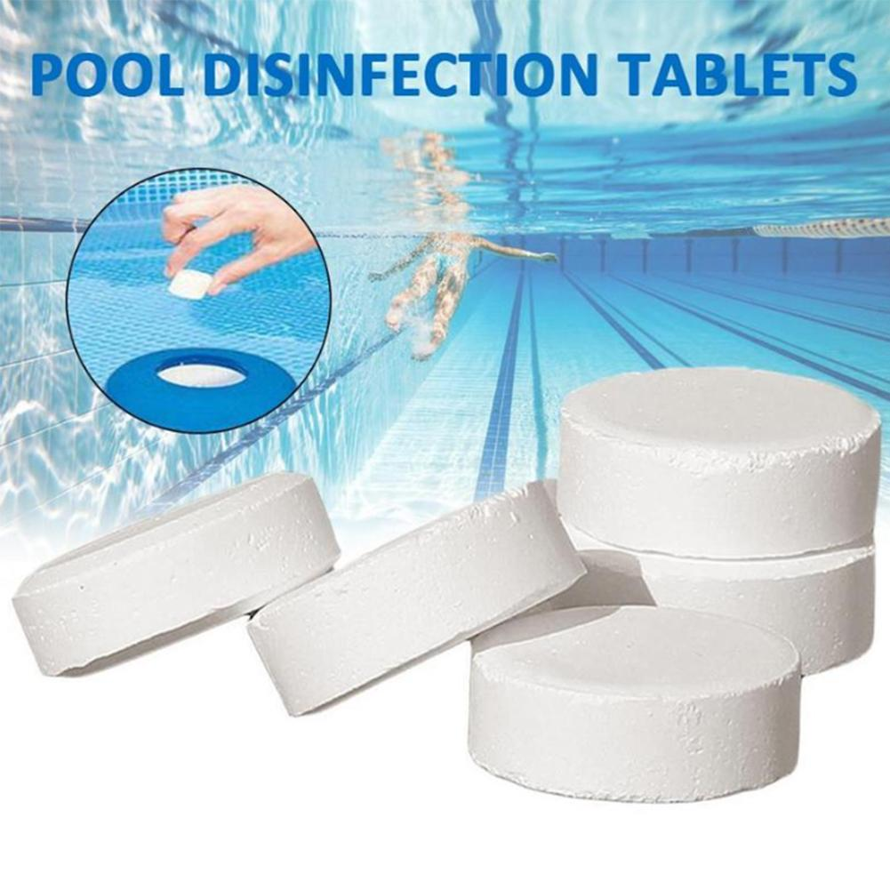50Pcs Swimming Pool Instant Disinfection Pool Cleaning Effervescen Chlorine Tablets Cage Disinfectant Swimming Pool Clarifier