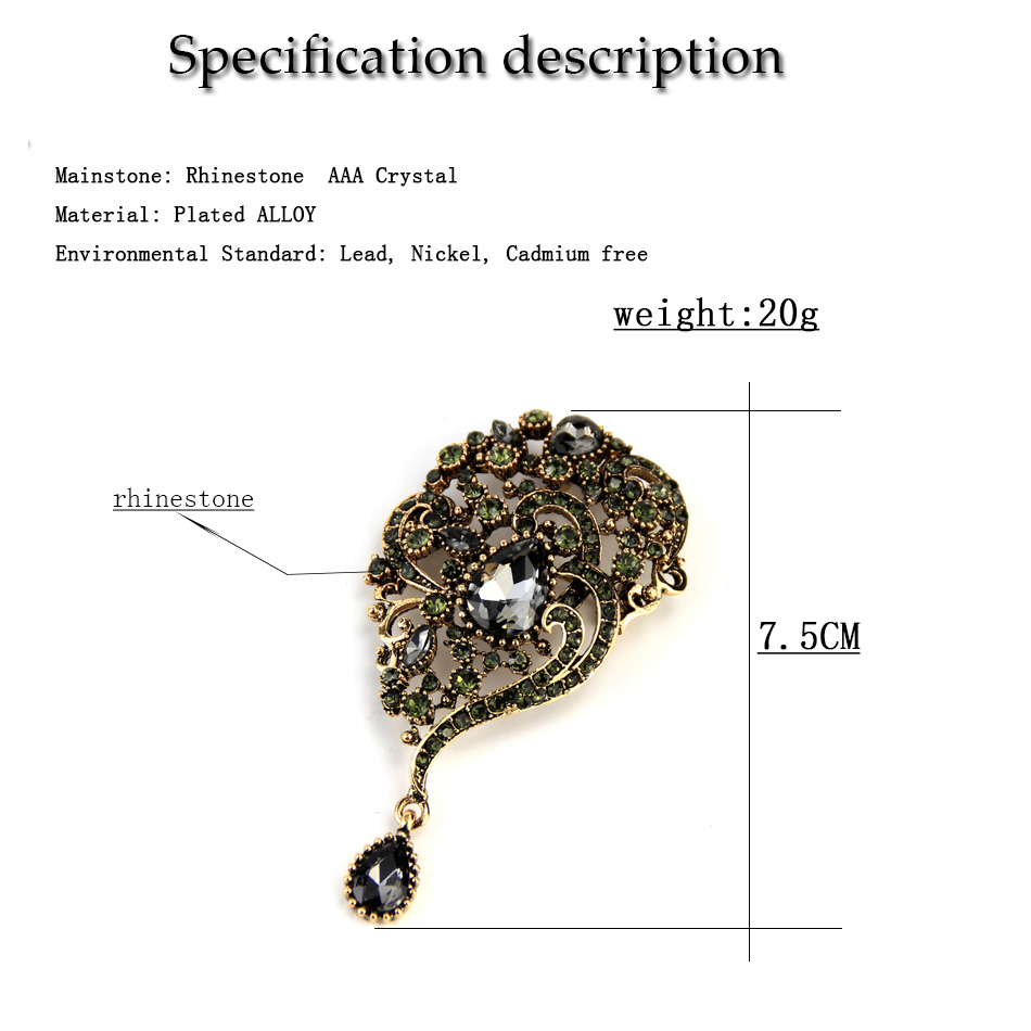 Sunspicems Vintage Turecki Broszka Spadek Wisiorek dla Kobiet Retro - Modna biżuteria - Zdjęcie 6