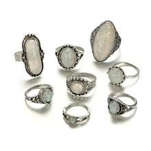 Tocona 8pcs/Set Vintage Antique Silver Color Rings Sets Colorful Opal Stone Carve