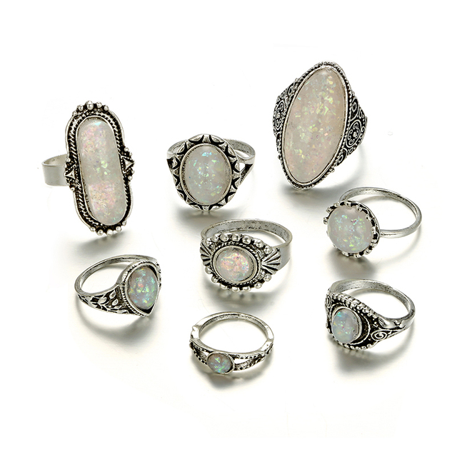 Tocona Vintage Antique Silver Color Rings Sets Colorful Opal Crystal Stone Carve for Women Men Bohemian Jewelry Anillos 6421 1