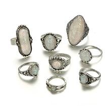 Tocona 8 pçs/set Conjuntos de Anéis de Cor Prata da Antiguidade Do Vintage Colorido Opala Pedra Carve para Mulheres Homens Anillos Jóias Boêmio 6421