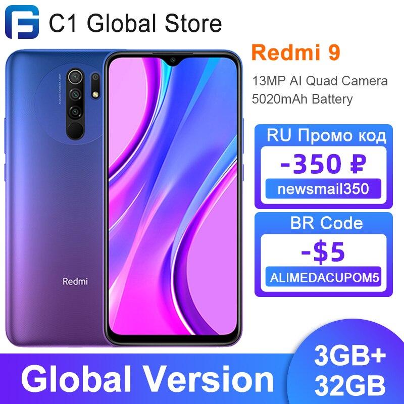 Глобальная версия Xiaomi Redmi 9, 3 Гб оперативной памяти, 32 Гб встроенной памяти/4GB 64GB смартфон Helio G80 Octa Core 13MP AI Quad камера 6,53