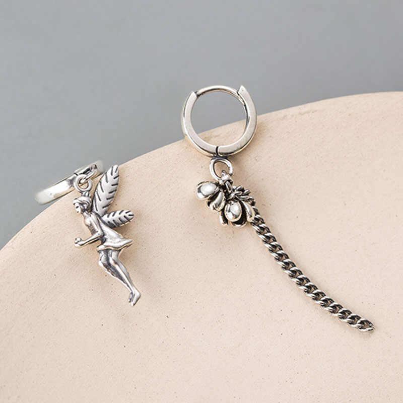 Asymmetry Elf Angel Tassel Earring 100% 925 Sterling Silver Jewelry Metal Flower Long Tassel Earring Antique Ear Drop For Women