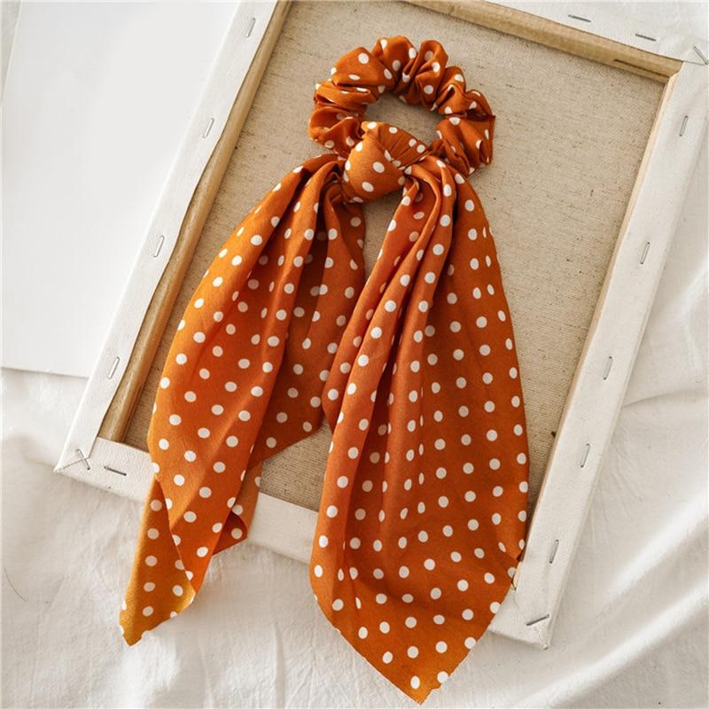 Femmes banderoles chouchous à pois imprimé Floral élastique noeud cheveux corde fille cheveux cravates coréen doux cheveux accessoires chapeaux 7