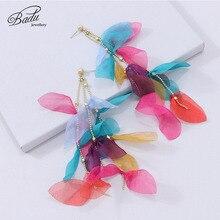 Badu Long Drop Earrings for Women Fashion Yarn Flower Wedding Bridal Tassel Dangle Earring 2019 Handmade Charm Jewelry