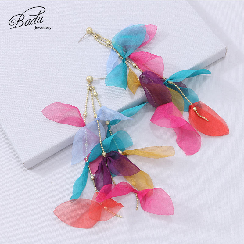 Badu Long Drop Yarn Flower Earrings for Women Fashion Wedding Bridal Tassel Dangle Earring 2020 Fashion Handmade Charm Jewelry