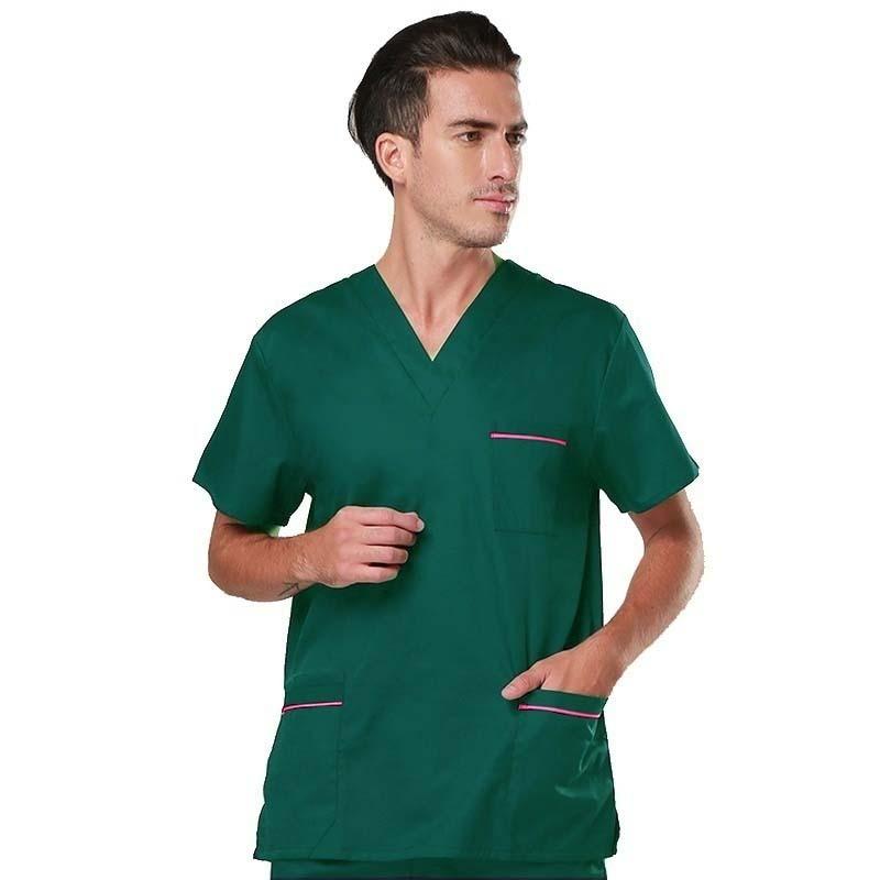 Men's Scrub Set Short Sleeved V-collar Top + Elastic Pants Pure Cotton Surgery Scrubs Color Blocking Design Medical Uniforms