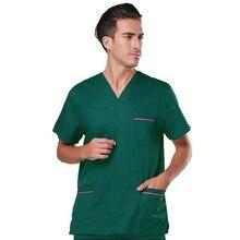 Mens Scrub Set Short Sleeved V-collar Top + Elastic Pants Pure Cotton Surgery Scrubs Color Blocking Design Medical Uniforms