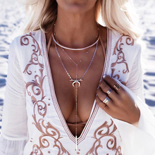 Cuteeco Fashion Gold Moon Pendant Necklace Clavicle Chain Double Layer Ladies Beach Multilayer Long