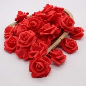 Image 5 - 4cm 30 adet/grup büyük PE köpük gül yapay çiçek kafa ev düğün dekorasyon DIY Scrapbooking çelenk sahte dekoratif Ros