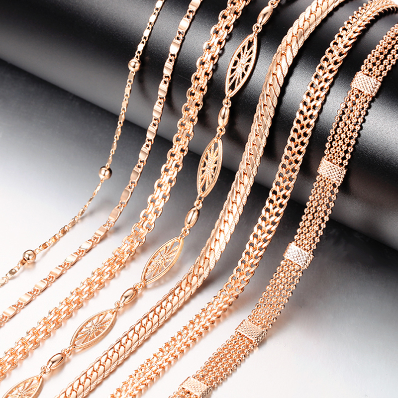 20 Style Fashion Jewelry Men Womens 585 Rose Gold Color Necklace Curb/Weaving Classic Chains Jewelry 50cm 60cm