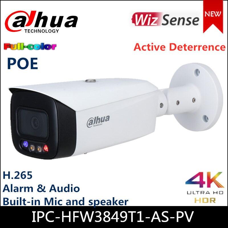 Dahua 4k câmera ip IPC-HFW3849T1-AS-PV 8mp cheio-cor ativa dissuasão fixo-focal bala wizsense câmera de rede