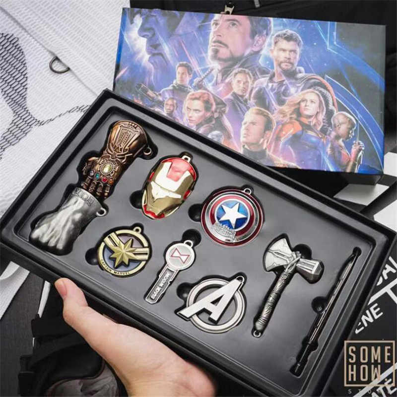 Chaud nouveau The Avengers Endgame porte-clés Cosplay Badge fer homme Thor Hulk collier ensemble alliage cadeau