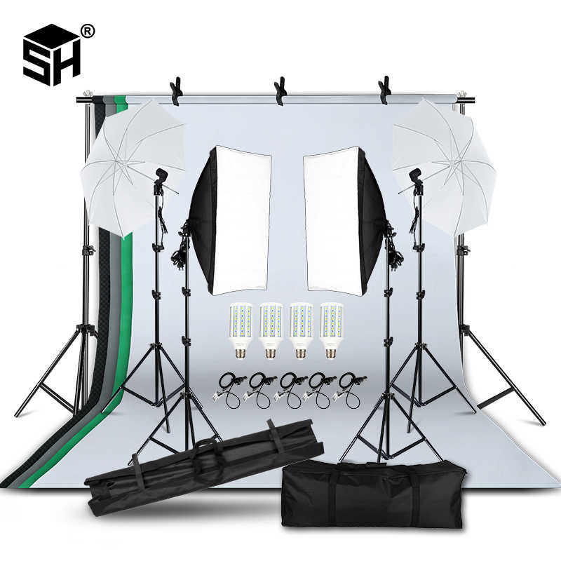 プロの写真照明機器キットとソフト傘の背景スタンド背景電球写真スタジオ