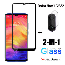 2-in-1 3D Tempered Glass For Xiaomi Redmi Note 7 Screen Protector 7A Camera glass redmi note Protective