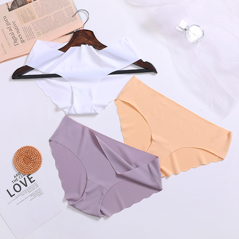UMKA Ice Silk Seamless Panty Underwear Female Comfort Intimates Fashion For Women Low Waist Briefs Lingerie Femme Sexy Underpant