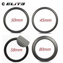 Elitewheelsกรวดคาร์บอนRims Golf Surfce Dimpleขอบคาร์บอน 45 มม.50 มม.58 มม.80 มม.ความลึกสำหรับแผนที่จักรยานCyclocrossกรวดจักรยาน