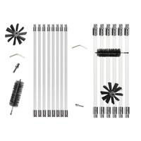 Flexible 8pcs Rods + 1pc Brush Head Chimney Cleaner Sweep Rotary Fireplaces Inner Wall Cleaning Brush Cleaner Chimneys Access