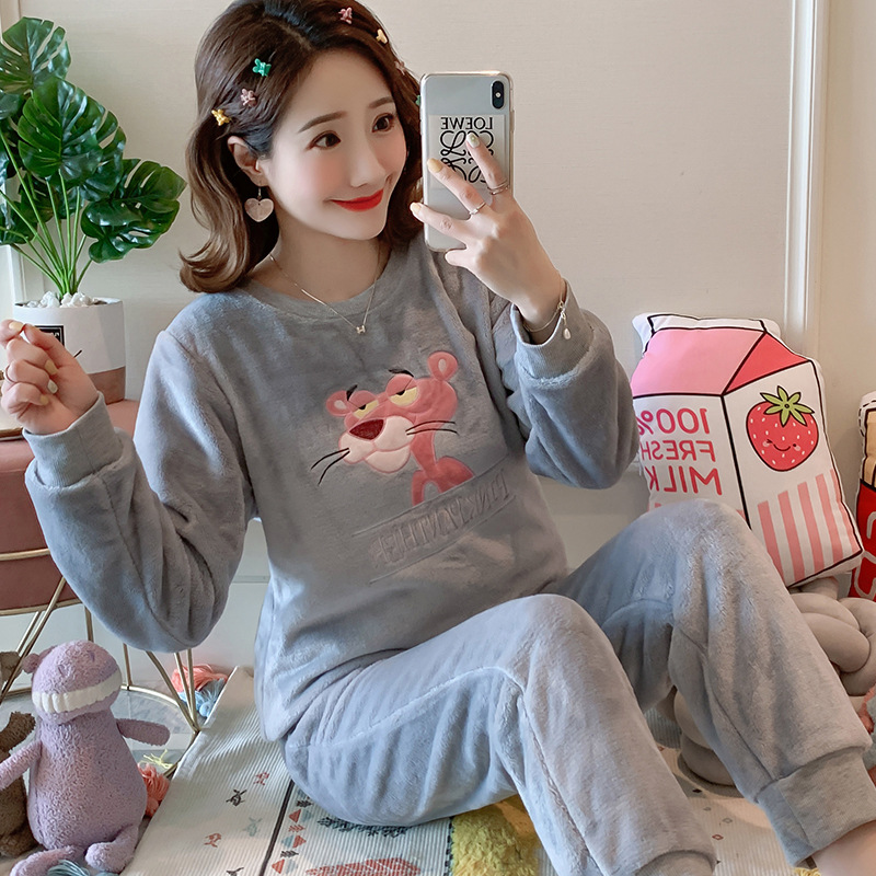Betyline 2019 New Winter Pajamas For Women Sleepwear Warm Flannel Long Sleeves Pajamas Cute Animal Homewear Thick Homewear 162