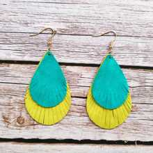ZWPON Teal and Yellow Layered Leather Teardrop Earrings for Women Fashion Black White Feather Jewelry Wholesale