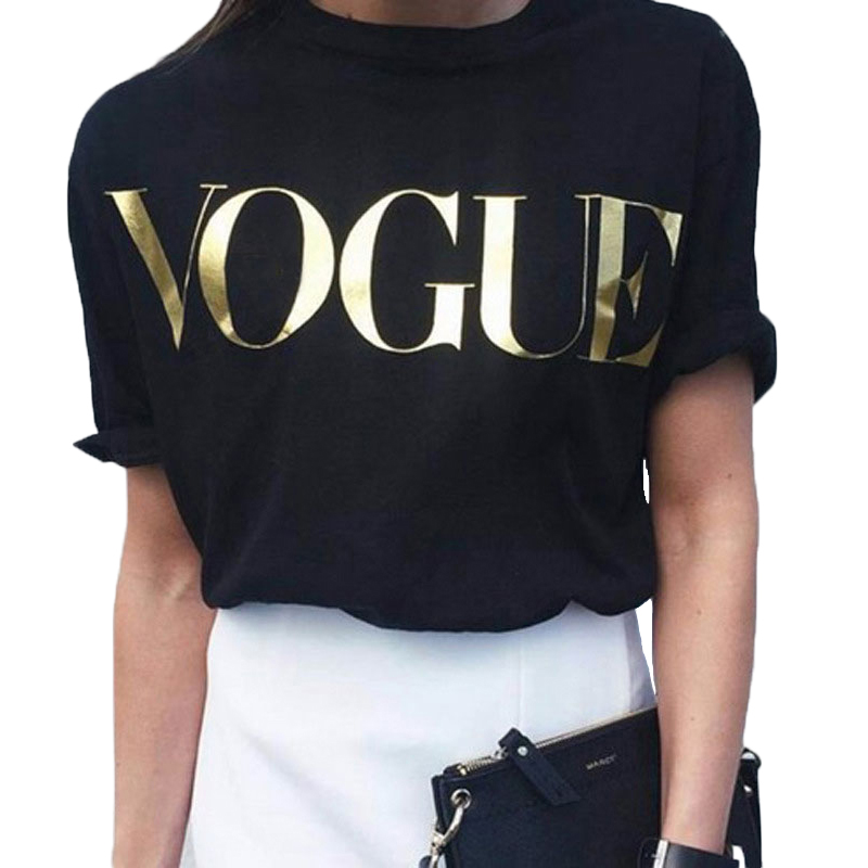 Vogue T-shirt Women Short Sleeve t shirt Fashion Korean Style Clothes Women Loose Black Top Tshirt Casual Tops t shirt for Women