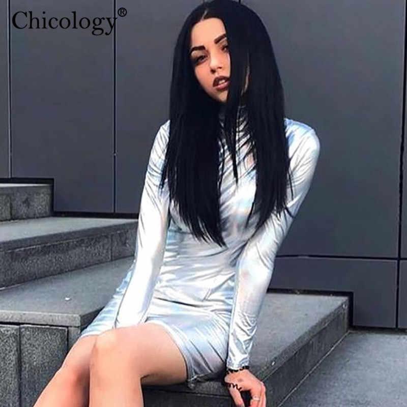 Chicology kobiety mini sukienka na imprezę z długim rękawem z golfem bodycon lady streetwear 2019 jesienno-zimowa kobieta neon ubrania
