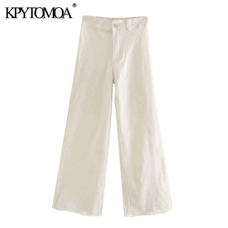 KPYTOMOA-Pantalones vaqueros rectos de cintura alta para mujer, pantalón Vintage con bolsillos y cremallera, a la moda, 2020