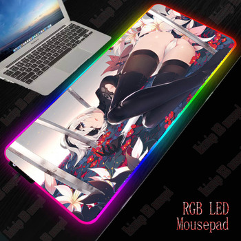 XGZ Nier Automata Sexy Girl RGB Mouse Pad Gaming Keyboard Large Computer Gamer Backlight Mause Desk Mat
