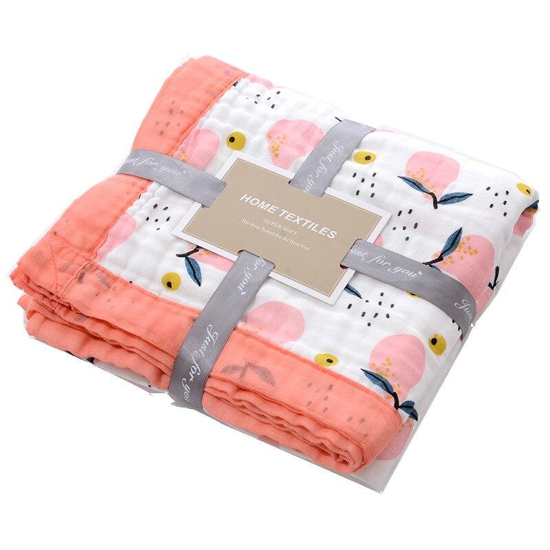 6 Layers Super Soft Wide Bordure Cotton Muslin Blanket Newborn Swaddle Baby Cart Blanket Kids Bath Towel Baby Receiving Blanket