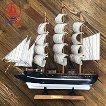 LUCKK 33CM Mediterranean Handmade Wooden SailBoat Figurine Nordic Home Desktop Decor Wood Nautical Crafts Ornament Top Kids Gift