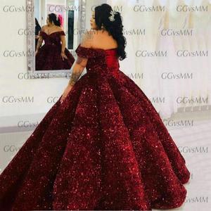 Image 4 - Robe de soirée longue rose scintillante, à paillettes, à épaules dénudées, robe de bal, sur mesure, modèle 2020