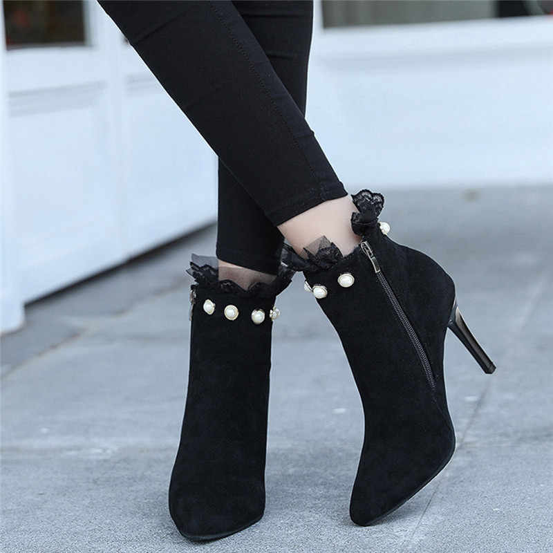 63426ffe2f2 Women's Boots Black Egland Classic Elegant Flock Pointed Toe Ankle Boots  Para Mujer Lace High Heels Zipper Short Bota Women 5