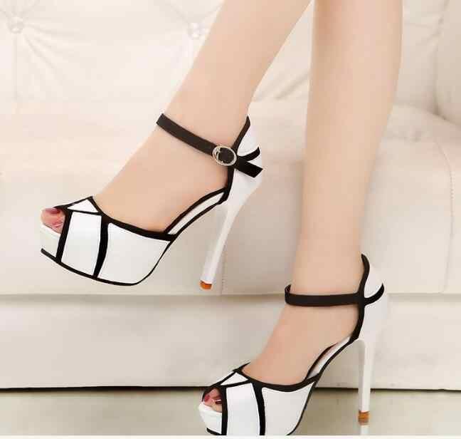 Shorha di modo Sexy scarpe tacco alto per le scarpe delle donne di estate per le donne della bocca dei Pesci sandali classici tacchi scarpe da sposa per delle donne di alta tacco a spillo sandali