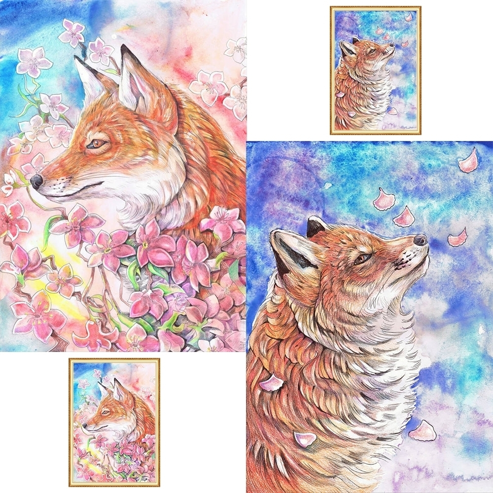 キツネ桜写真壁紙フルディスプレイ動物のダイヤモンドの絵画