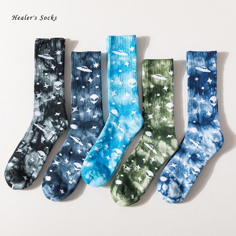 Носки хлопковые цветные для мужчин и женщин, модные уличные смешные для скейтборда в стиле Харадзюку, с принтом звезд, инопланетянина, тай-д...