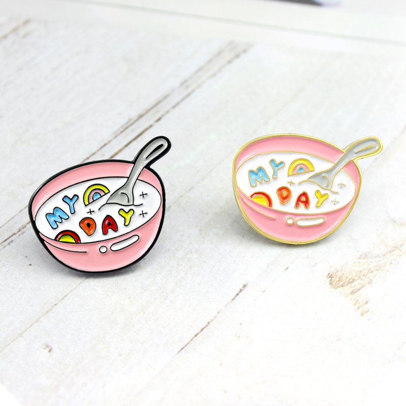 Cartoon Soup Pink Cup Brooch Cute Egg Rainbow MY DAY Milk Japanese Enamel Pin Denim Shirt Children Badge Punk Friends Jewelry(China)