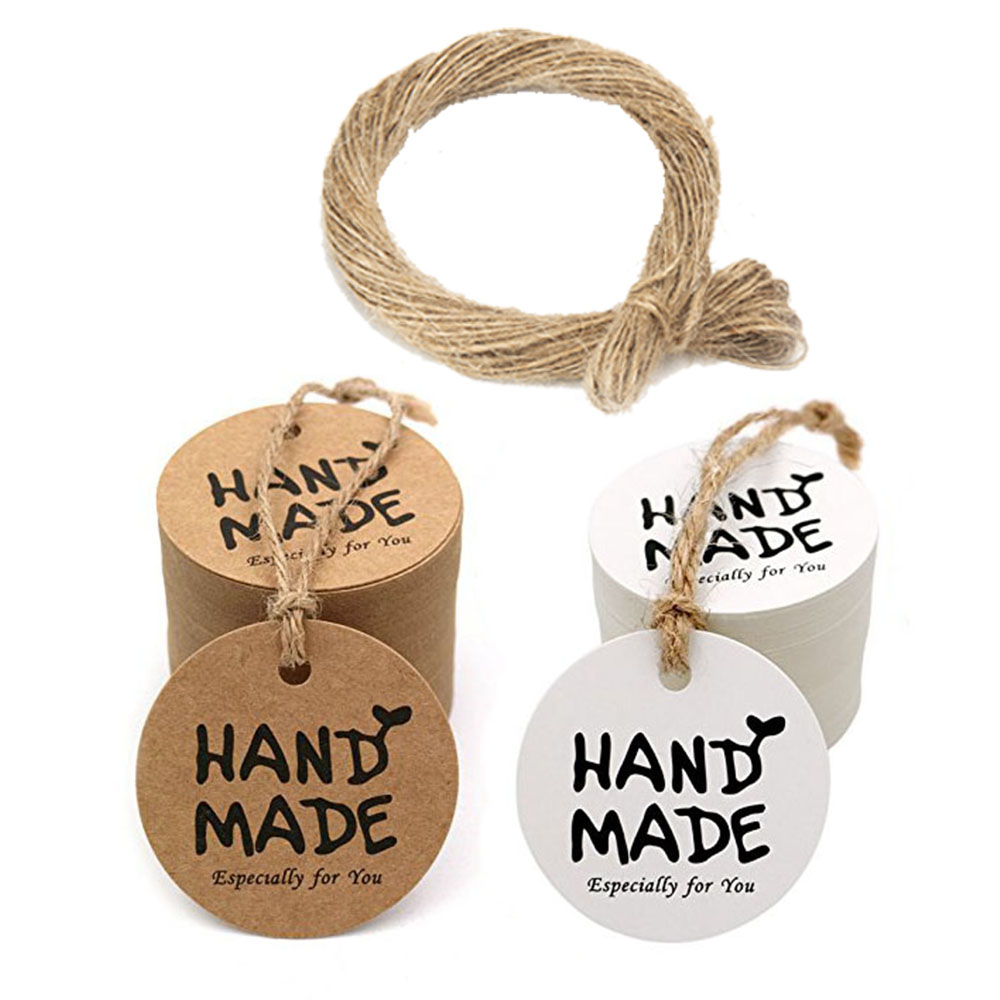 100 Pcs/pack Brown Or White Round 'HANDMADE' Tags For Wedding Party Decoration Tags Packaging Hang Paper Tags Stationery Tags