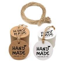 100 unidades/pacote marrom ou branco redondo handhandmadetags tags para festa de casamento decoração etiquetas de papel de embalagem pendurar tags de papelaria