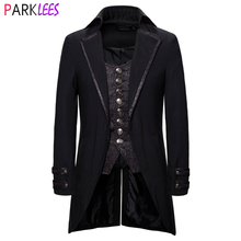 Men's Fake Two Piece Steampunk Vintage Tailcoat Jacket Halloween Costumes Victorian Coat Men Gothic Cosplay Swallow Uniform 2XL