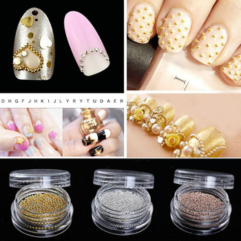 1 bottle 0.8mm Gold Silver DIY Nail Caviar Beads Decorations Studs 3d Mini Stainless Steel Beads Nails Art Rose image