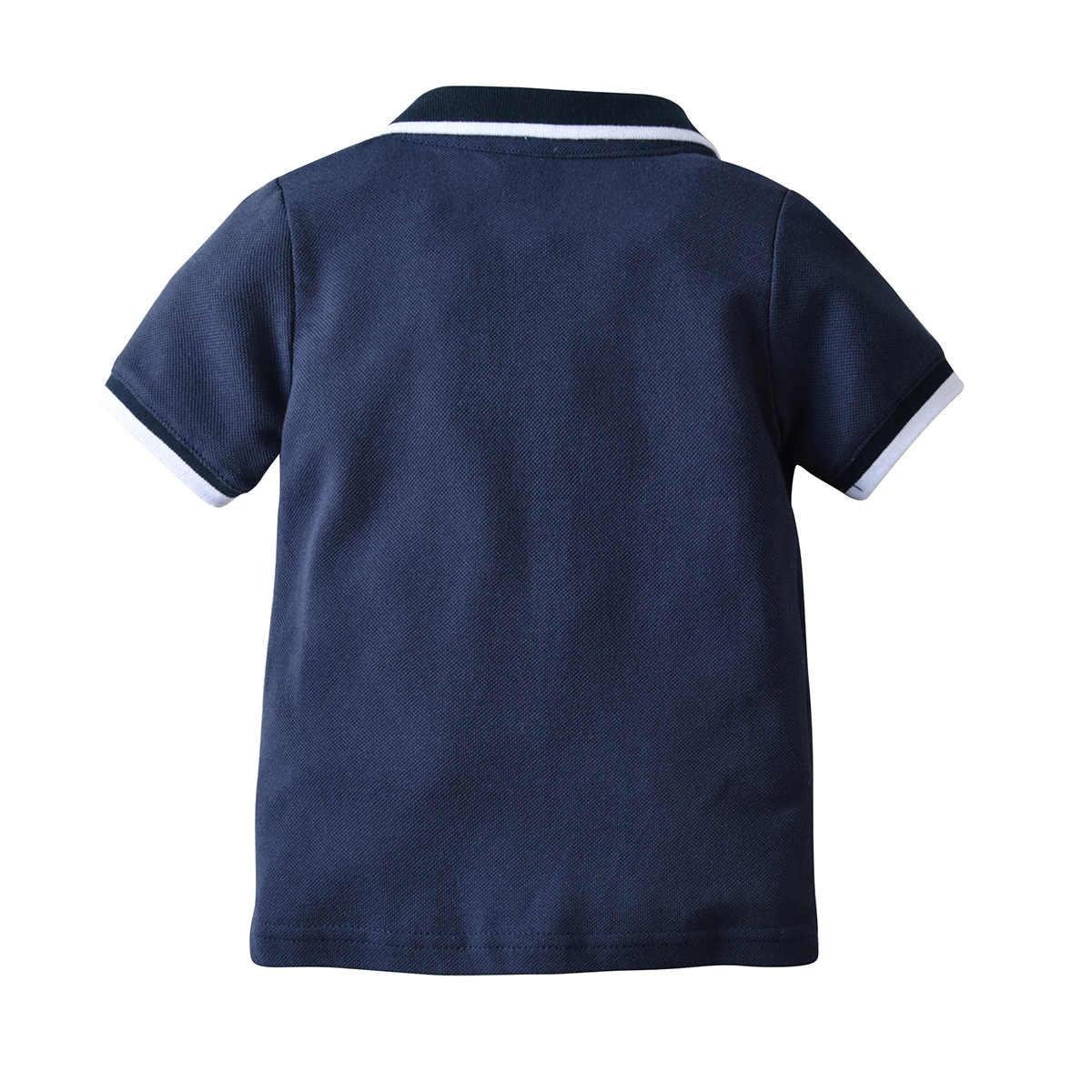 クロスボーダーホット販売 BOY 'S ダークブルー半袖シャツ子供倍襟トップス Tシャツハーフカーディガンラペル T-sh