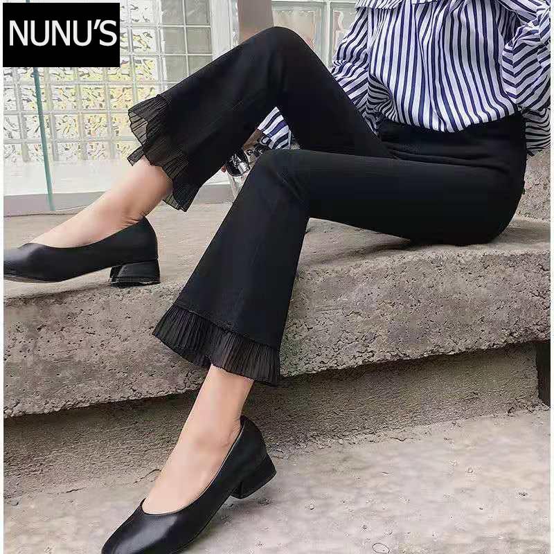 Black Female Capris Bell Bottom Metal Ring Flare Pants Wide Leg Pants Big 2020 Trousers Women High Waist Plus Size XL C32